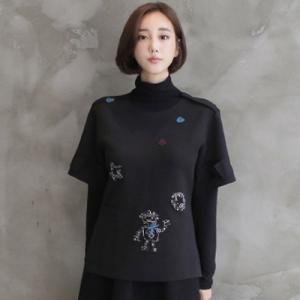 ブラウス レディース 40代 50代 60代 ファッション おしゃれ 女性 上品  黒 トップス 半袖 刺繍 秋 ミセス|alice-style