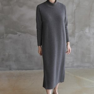 ワンピース レディース 40代 50代 60代 ファッション おしゃれ 女性 上品  黒 ロング丈 無地 長袖 きれいめ 秋 ミセス|alice-style