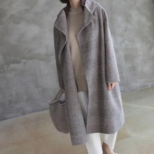 コート レディース 40代 50代 60代 ファッション おしゃれ 女性 上品  茶色 ロング丈 グレンチェック ゆったり 体形カバー 秋 ミセス|alice-style