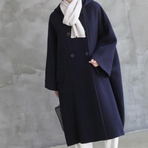 コート レディース 40代 50代 60代 ファッション おしゃれ 女性 上品  紺 青 ゆったり 体形カバー ウール混 ロング丈 ロングコート 秋 ミセス|alice-style