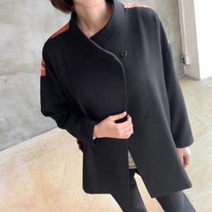 ジャケット レディース 40代 50代 60代 ファッション おしゃれ 女性 上品  黒 切り替え バックプリント ハーフ丈 秋 ミセス|alice-style