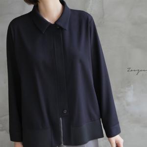 ジャケット レディース 40代 50代 60代 ファッション おしゃれ 女性 上品  紺 青 ハーフ丈 きれいめ ジップアップ 秋 ミセス|alice-style