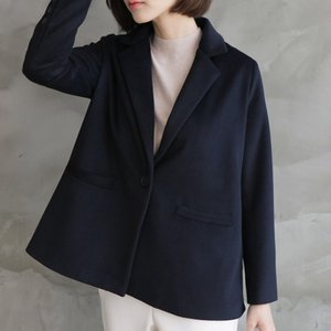 ジャケット レディース 40代 50代 60代 ファッション おしゃれ 女性 上品  紺 青 ハーフ丈 ウール混 きれいめ 秋 ミセス|alice-style