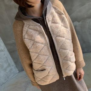 ジャケット レディース 40代 50代 60代 ファッション おしゃれ 女性 上品  ベージュ  グレー ハーフ丈 ジップアップ ニット 秋 ミセス|alice-style