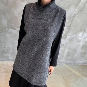 ベスト レディース 40代 50代 60代 ファッション おしゃれ 女性 上品  黒 ロング丈 ハイネック 秋 ミセス|alice-style