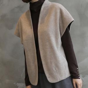 ベスト レディース 40代 50代 60代 ファッション おしゃれ 女性 上品  黒  ベージュ  グレー 半袖 ハーフ丈 ウール混 秋 ミセス|alice-style