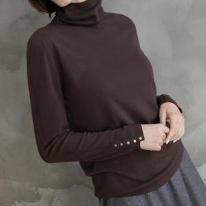 Tシャツ レディース 40代 50代 60代 ファッション おしゃれ 女性 上品  黒  茶色  ベージュ  グレー トップス 無地 長袖 秋 ミセス|alice-style