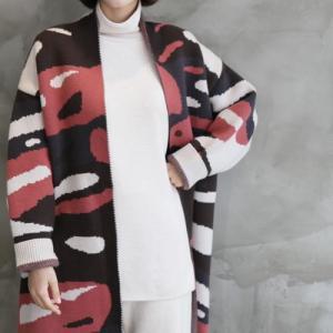 カーディガン レディース 40代 50代 60代 ファッション おしゃれ 女性 上品 ルーズフィット ゆったりめ ショールカーディガン 柄 冬 ミセス|alice-style