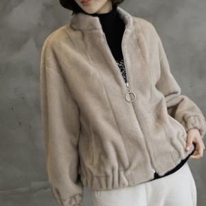 ジャケット レディース 40代 50代 60代 ファッション おしゃれ 女性 上品  ベージュ ハーフ丈 起毛 ジップアップ 秋 ミセス|alice-style