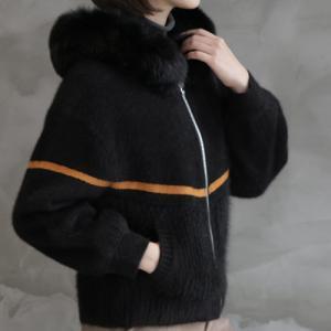 ジャケット レディース 40代 50代 60代 ファッション おしゃれ 女性 上品  黒  ベージュ ハーフ丈 ニット フェイクファー ウール混 カシミア 秋 ミセス|alice-style