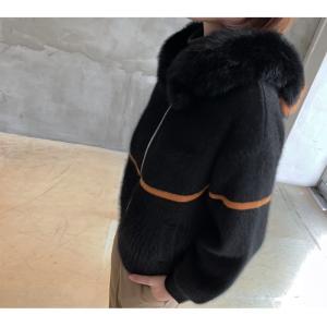 ジャケット レディース 40代 50代 60代 ファッション おしゃれ 女性 上品  黒  ベージュ ハーフ丈 ニット フェイクファー ウール混 カシミア 秋 ミセス alice-style 12