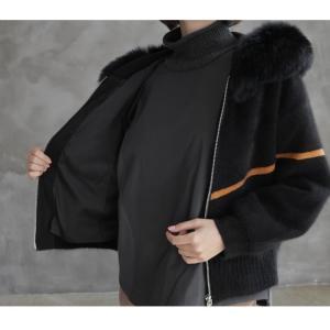 ジャケット レディース 40代 50代 60代 ファッション おしゃれ 女性 上品  黒  ベージュ ハーフ丈 ニット フェイクファー ウール混 カシミア 秋 ミセス alice-style 14