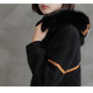 ジャケット レディース 40代 50代 60代 ファッション おしゃれ 女性 上品  黒  ベージュ ハーフ丈 ニット フェイクファー ウール混 カシミア 秋 ミセス alice-style 15