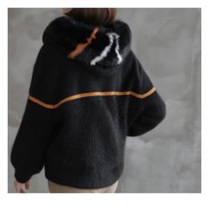 ジャケット レディース 40代 50代 60代 ファッション おしゃれ 女性 上品  黒  ベージュ ハーフ丈 ニット フェイクファー ウール混 カシミア 秋 ミセス alice-style 16