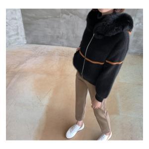 ジャケット レディース 40代 50代 60代 ファッション おしゃれ 女性 上品  黒  ベージュ ハーフ丈 ニット フェイクファー ウール混 カシミア 秋 ミセス alice-style 18