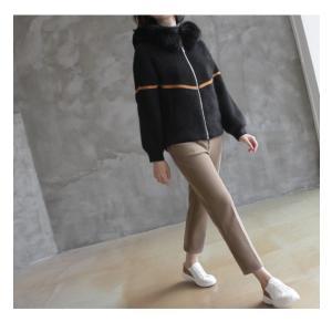 ジャケット レディース 40代 50代 60代 ファッション おしゃれ 女性 上品  黒  ベージュ ハーフ丈 ニット フェイクファー ウール混 カシミア 秋 ミセス alice-style 20