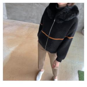 ジャケット レディース 40代 50代 60代 ファッション おしゃれ 女性 上品  黒  ベージュ ハーフ丈 ニット フェイクファー ウール混 カシミア 秋 ミセス alice-style 06