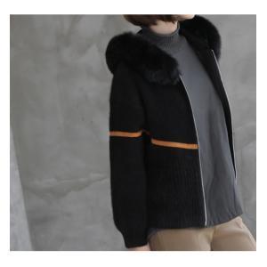 ジャケット レディース 40代 50代 60代 ファッション おしゃれ 女性 上品  黒  ベージュ ハーフ丈 ニット フェイクファー ウール混 カシミア 秋 ミセス alice-style 08