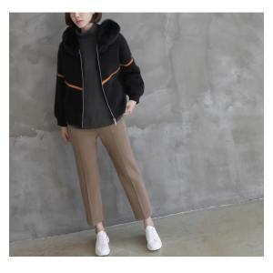 ジャケット レディース 40代 50代 60代 ファッション おしゃれ 女性 上品  黒  ベージュ ハーフ丈 ニット フェイクファー ウール混 カシミア 秋 ミセス alice-style 09