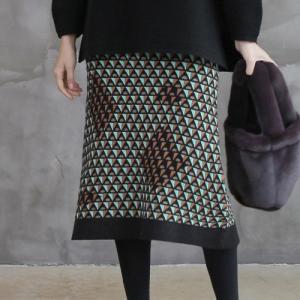 ニット レディース 40代 50代 60代 ファッション おしゃれ 女性 上品  赤 スカート ウール混 幾何学模様 膝丈 秋 ミセス|alice-style