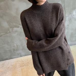 ニット レディース 40代 50代 60代 ファッション おしゃれ 女性 上品  黒  茶色 トップス 長袖 起毛 秋 ミセス|alice-style