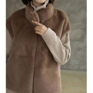 ベスト レディース 40代 50代 60代 ファッション おしゃれ 女性 上品  茶色  ベージュ 起毛 ハーフ丈 秋 ミセス|alice-style