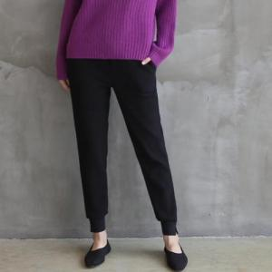 スパン レディース 40代 50代 60代 ファッション おしゃれ 女性 上品 黒 バンディングスリム ジョガーパンツ 無地 冬 ミセス|alice-style