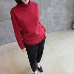 Tシャツ レディース 40代 50代 60代 ファッション おしゃれ 女性 上品  黒  赤 タートルネック トップス 無地 長袖 秋 ミセス|alice-style