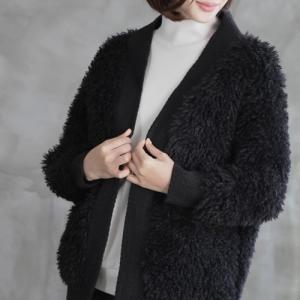 カーディガン レディース 40代 50代 60代 ファッション おしゃれ 女性 上品  黒 ウール混 起毛 ハーフ丈 秋 ミセス|alice-style