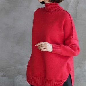 トップス レディース 40代 50代 60代 ファッション おしゃれ 女性 上品  黒  赤 ニット セーター ハイネック 無地 きれいめ 長袖 秋 ミセス alice-style