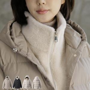 ハイネック レディース 40代 50代 60代 ファッション おしゃれ 女性 上品 ベージュ 二重ショート ジャンパー 長袖 無地 冬 ミセス|alice-style