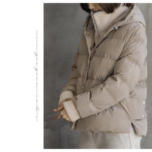 ハイネック レディース 40代 50代 60代 ファッション おしゃれ 女性 上品 ベージュ 二重ショート ジャンパー 長袖 無地 冬 ミセス|alice-style|11