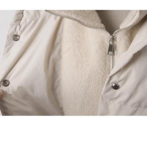 ハイネック レディース 40代 50代 60代 ファッション おしゃれ 女性 上品 ベージュ 二重ショート ジャンパー 長袖 無地 冬 ミセス|alice-style|20