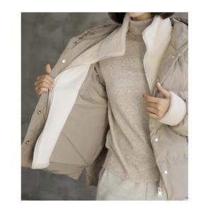 ハイネック レディース 40代 50代 60代 ファッション おしゃれ 女性 上品 ベージュ 二重ショート ジャンパー 長袖 無地 冬 ミセス|alice-style|07