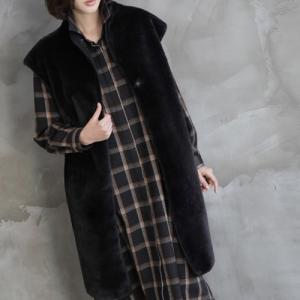 ベスト レディース 40代 50代 60代 ファッション おしゃれ 女性 上品  黒 ロング丈 起毛 あったか 秋 ミセス|alice-style