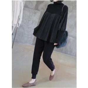 ブラウス レディース 40代 50代 60代 ファッション おしゃれ 女性 上品  黒  茶色 長袖 トップス 切り替え プリーツ 冬 ミセス|alice-style