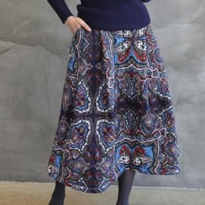 スカート レディース 40代 50代 60代 ファッション おしゃれ 女性 上品  赤  紺 青 防寒スカート 中綿 ペイズリー柄 ロング丈 ロングスカート 冬 ミセス|alice-style