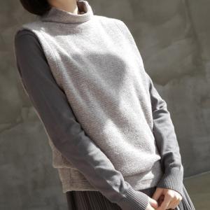 ベスト レディース 40代 50代 60代 ファッション おしゃれ 女性 上品  グレー プルオーバー 無地 秋 ミセス|alice-style