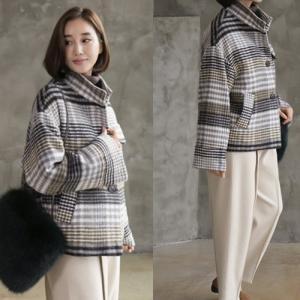 コート レディース 40代 50代 60代 ファッション おしゃれ 女性 上品 グレー ハイネックチェック ショートコート 冬 ミセス|alice-style