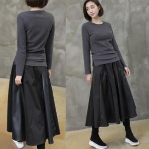 フレアスカート レディース 40代 50代 60代 ファッション おしゃれ 女性 上品 黒 レザー配色 冬 ミセス|alice-style