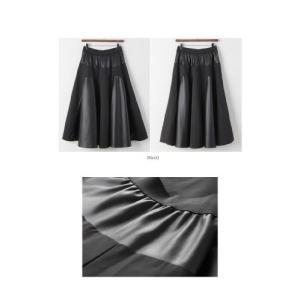 フレアスカート レディース 40代 50代 60代 ファッション おしゃれ 女性 上品 黒 レザー配色 冬 ミセス|alice-style|02