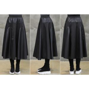 フレアスカート レディース 40代 50代 60代 ファッション おしゃれ 女性 上品 黒 レザー配色 冬 ミセス|alice-style|11