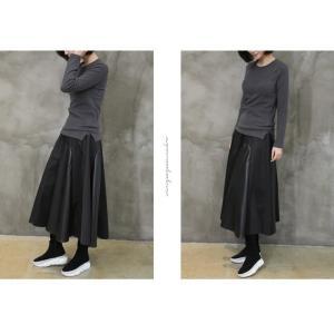 フレアスカート レディース 40代 50代 60代 ファッション おしゃれ 女性 上品 黒 レザー配色 冬 ミセス|alice-style|12