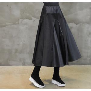 フレアスカート レディース 40代 50代 60代 ファッション おしゃれ 女性 上品 黒 レザー配色 冬 ミセス|alice-style|13