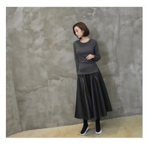フレアスカート レディース 40代 50代 60代 ファッション おしゃれ 女性 上品 黒 レザー配色 冬 ミセス|alice-style|14