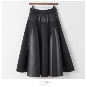 フレアスカート レディース 40代 50代 60代 ファッション おしゃれ 女性 上品 黒 レザー配色 冬 ミセス|alice-style|18