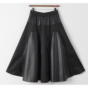 フレアスカート レディース 40代 50代 60代 ファッション おしゃれ 女性 上品 黒 レザー配色 冬 ミセス|alice-style|19