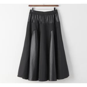 フレアスカート レディース 40代 50代 60代 ファッション おしゃれ 女性 上品 黒 レザー配色 冬 ミセス|alice-style|20