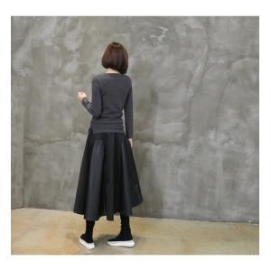フレアスカート レディース 40代 50代 60代 ファッション おしゃれ 女性 上品 黒 レザー配色 冬 ミセス|alice-style|04