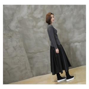 フレアスカート レディース 40代 50代 60代 ファッション おしゃれ 女性 上品 黒 レザー配色 冬 ミセス|alice-style|05